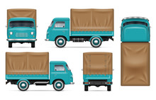 Realistic Old Truck Vector Mockup. Isolated Template Of The Van On White For Vehicle Branding, Corporate Identity. View From Left, Right, Front, Back, And Top Sides, Easy Editing And Recolor.