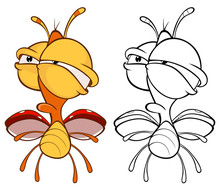 Vector Illustration Of A Cute Cartoon Character Ladybird For You Design And Computer Game. Coloring Book Outline Set