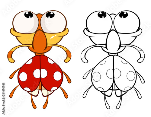 Poster Babykamer Vector Illustration of a Cute Cartoon Character Ladybird for you Design and Computer Game. Coloring Book Outline Set