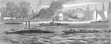 Fluvial Traffic On The Elbe River Near Dresden: A Rescue Tugboat Tugging An Ewer And A Steamboat With Sidewheels