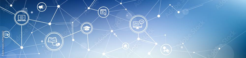 Fototapeta e-learning / blended learning / webinar icon concept – vector illustration