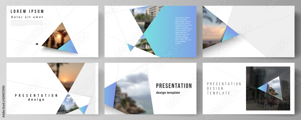 Fototapeta The minimalistic abstract vector layout of the presentation slides design business templates. Creative modern background with blue triangles and triangular shapes. Simple design decoration.