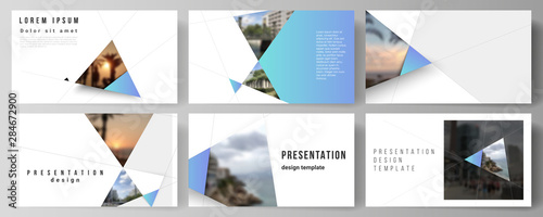 Fototapeta The minimalistic abstract vector layout of the presentation slides design business templates. Creative modern background with blue triangles and triangular shapes. Simple design decoration. obraz