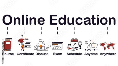 Online education icon, banner web Canvas Print