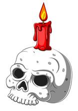 Cute Skull Candle Holder Isolated On White Background