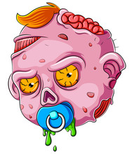 Cartoon Scary Baby Zombie Face On White Background
