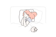 Sleep, Fatigue, Pleasure, Favorite Concept. Young, Beautiful, Calm, Peaceful Woman Enjoys Sleep In Her Comfortable Bed. Cute Girl Resting After A Working Or School Day With Your Pet. Vector Flat