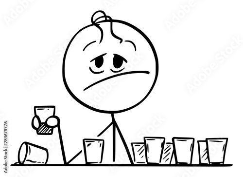 Fototapeta  Vector cartoon stick figure drawing conceptual illustration of frustrated drunk man sitting with many empty shot or short drinks glasses