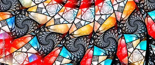 Photo  Colorful glowing stained glass with Fibonacci pattern 8k widescreen