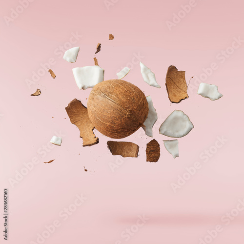 Fototapeta Fresh ripe coconut isolated on pink background