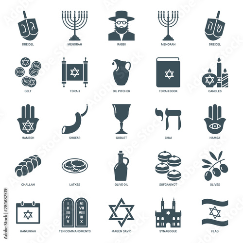Obraz na płótnie hanukkah icons set, judaism symbols collection
