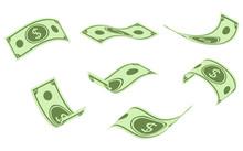 Falling Dollar Banknotes, Mone...