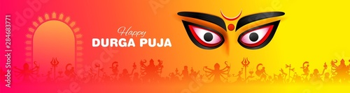 Obraz na plátně  illustration of Goddess Durga Face in Happy Durga Puja Subh Navratri Indian reli