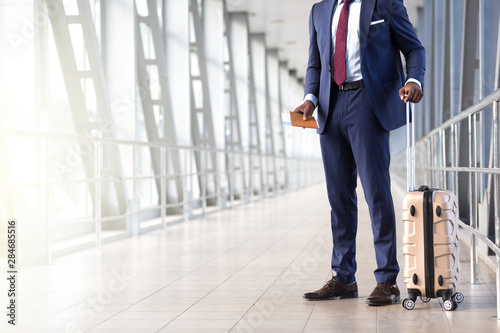 Traveler businessman in airport lounge waiting for the flight Canvas