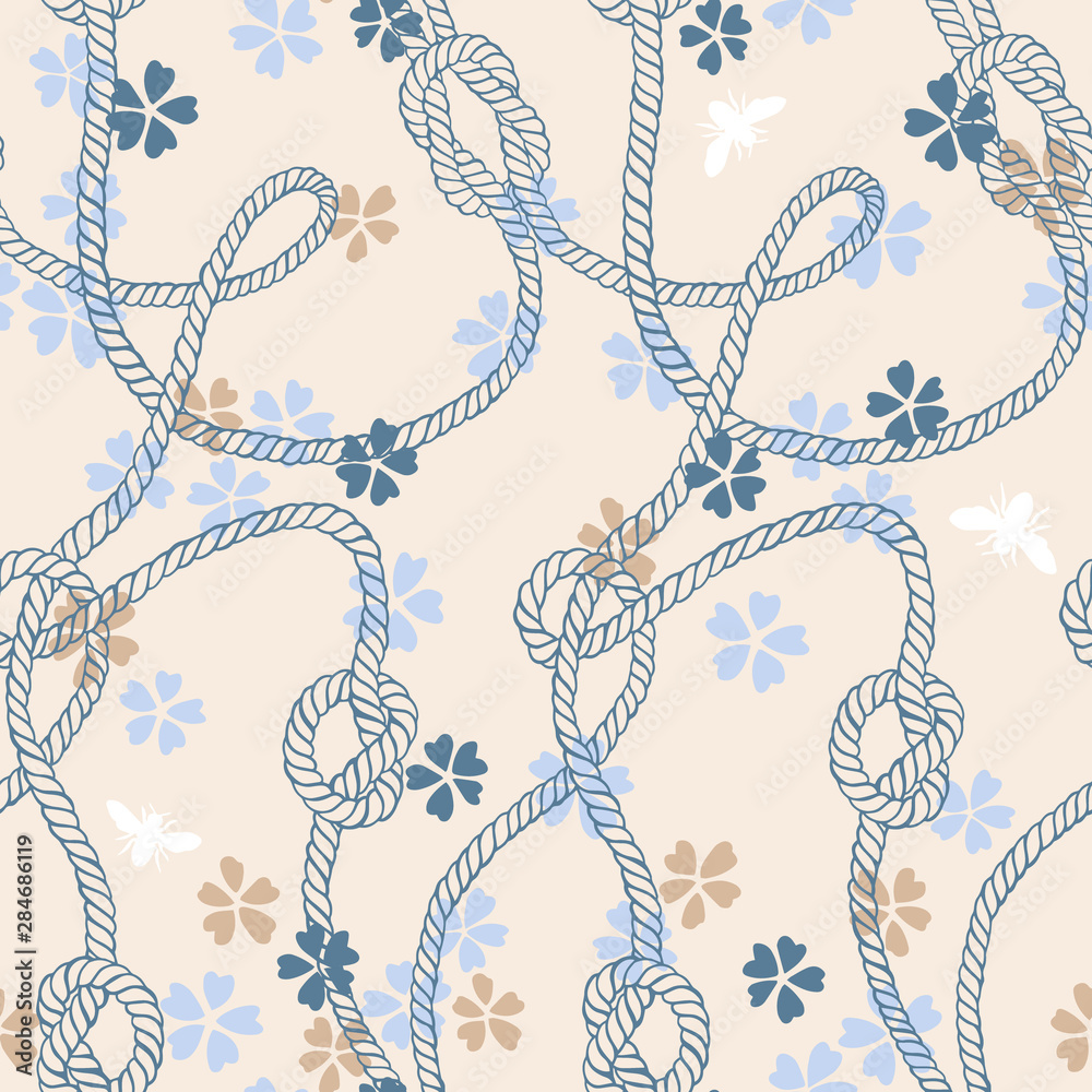 Vector seamless pattern made of twisted ropes with knots, flowers and insects. Abstract graphic drawing. Plane nautical and nature ornament.