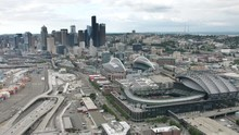 Wide Aerial Shot Of CenturyLink Field And T-Mobile Park In Seattle