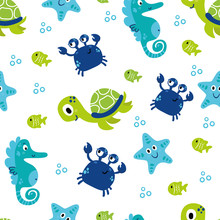 Cute Sea Vector Animals Underw...