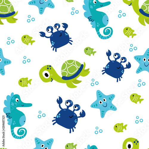 Fotomural Cute sea vector animals underwater