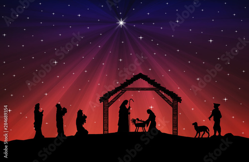 Christmas Nativity Scene black silhouette on blue-red background Wallpaper Mural
