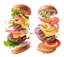 Delicious Burger With Flying Ingredients Isolated On White Background.