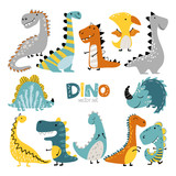 Fototapeta Dinusie - Dinosaurs vector set in cartoon scandinavian style. Colorful cute baby illustration is ideal for a children s room.