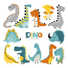 Dinosaurs Vector Set In Cartoo...