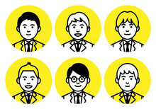 Set Of Young Men Upper Body In Round Frame On White Background. Vector Illustration.