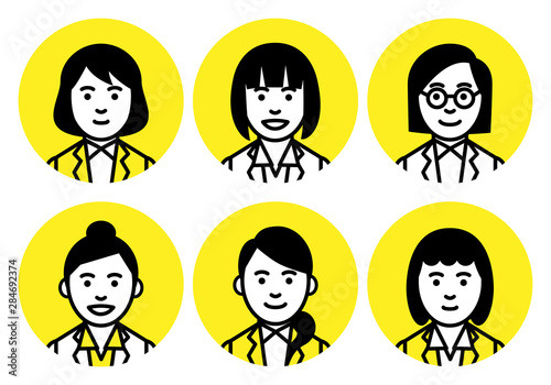 Set of young women upper body in round frame on white background. Vector illustration.