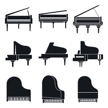 Music Grand Piano Icons Set. S...