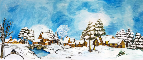 Obraz Snowy winter village landscape fairy-tale - fototapety do salonu