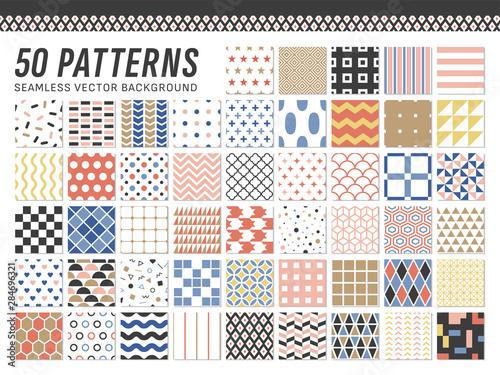 幾何学模様のシームレスパターン(50種セット)