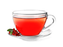 Healthy Goji Tea In Glass Cup With Berries On White Background