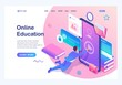Isometric concept Man studying online, a large library of knowledge. Mobile Application for training. Landing page template for the site
