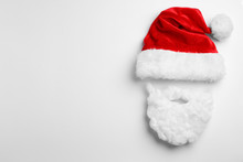 Santa Claus Hat With Beard On White Background, Top View