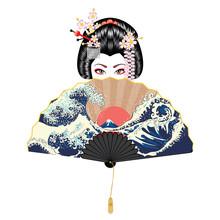 Geisha And Fan With Seascape