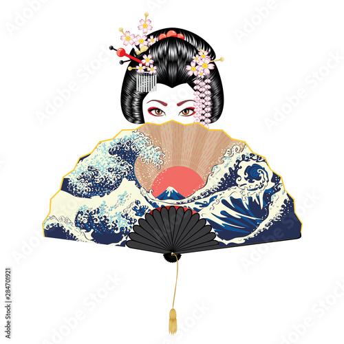 Geisha and fan with seascape Fototapet