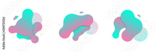 Vector set of fluid isolated abstract geometric blue and pink gradient shapes for modern website and liquid graphic design on the white background. Concept of dynamic composition and liquid color.