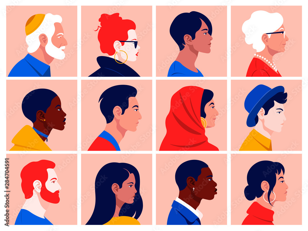 Fototapeta A set of people's faces in profile: men, women, young and elderly of different races and nations. Diversity.  Avatars. Vector flat Illustration