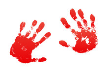 Bloody Hand Print Isolated Whi...