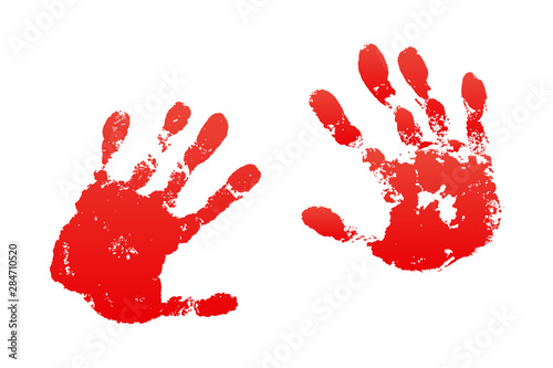 Bloody hand print isolated white background Wallpaper Mural