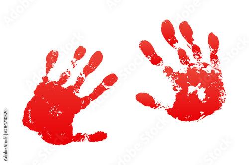 Fototapeta Bloody hand print isolated white background