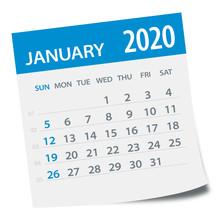 January 2020 Calendar Leaf - Vector Illustration