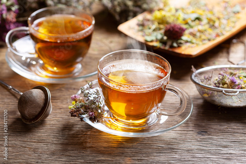 Recess Fitting Tea Cups of herbal tea with various herbs