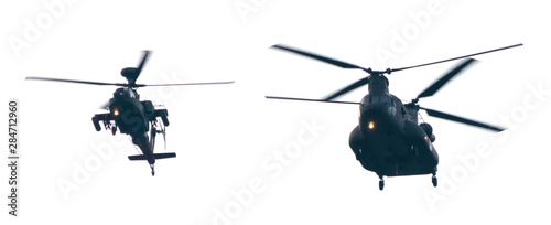 Close up of military transport helicopter isolated on white background