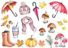 Autumn Set With Umbrellas, Knitted Hat, Scarf, Coffee Cup, Rubber Boots, Fly Agaric Mushrooms, Boletus Mushrooms, Pumpkin And Leaves. Watercolor Isolated On White Background.