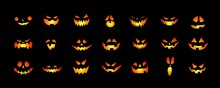 Set Of Halloween Scary Pumpkins Cut. Spooky Creepy Pumpkins Cut