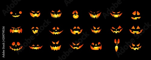 Foto Set of Halloween scary pumpkins cut. Spooky creepy pumpkins cut