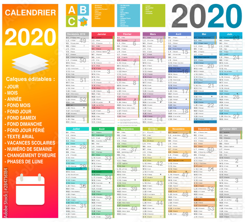 Calendrier Scolaire 2020 Et 2021.Calendrier 2020 14 Mois Avec Vacances Scolaires Officielles