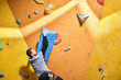 Cropped shot of young strong physically challenged boulderer hanging on large blue artificial rock hold at climbing wall, training indoors. Back view, half-length shot. Climbing sport concept.