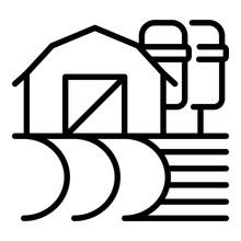 Farm Hambar Icon. Outline Farm...